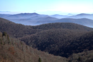 View from the Blue Ridge Parkway near Looking Glass Falls