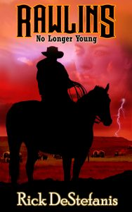 Rawlins Book Cover cowboy on horse with lightening in background