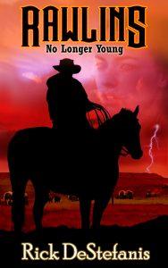 cowboy on horseback thunderstorm in distance