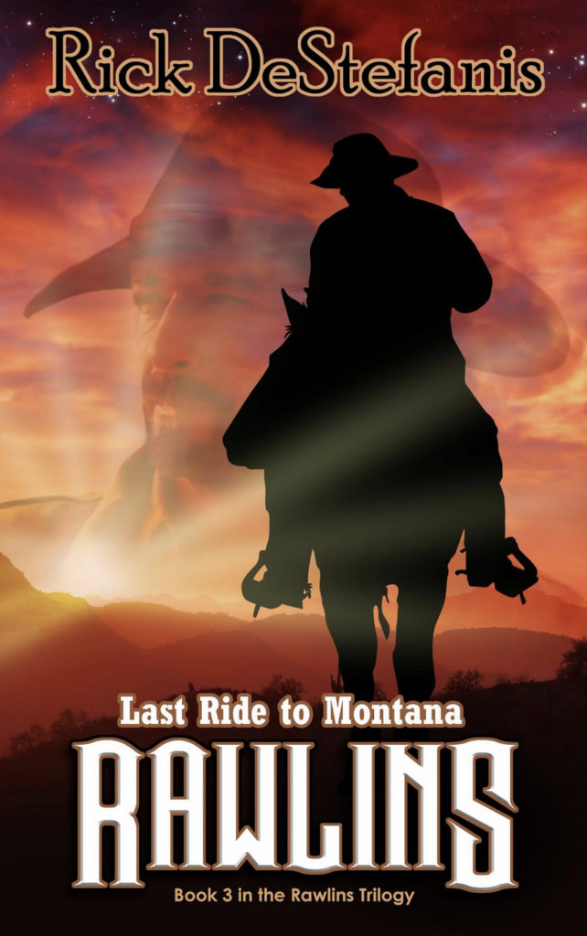 cowboy rides into sunset